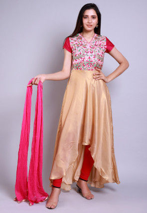 Embroidered Georgette Deep Back A Line Suit in Golden and Pink
