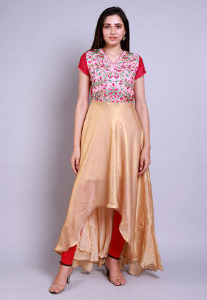 Embroidered Georgette Deep Back Kurta Set in Golden and Pink