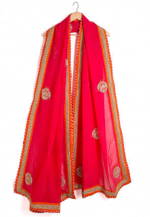 Embroidered Georgette Dupatta in Fuchsia