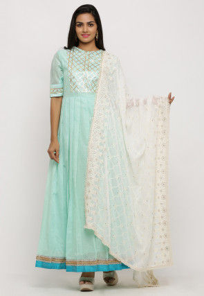 Embroidered Georgette Dupatta in Off White
