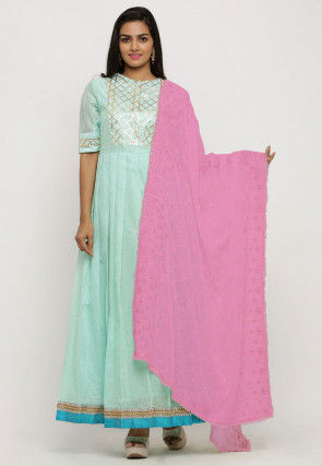 Embroidered Georgette Dupatta in Pink