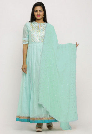 Embroidered Georgette Dupatta in Sea Green