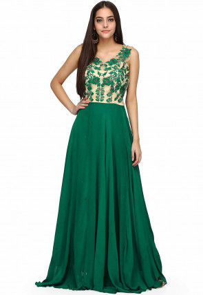 Embroidered Georgette Flared Gown in Dark Green and Beige