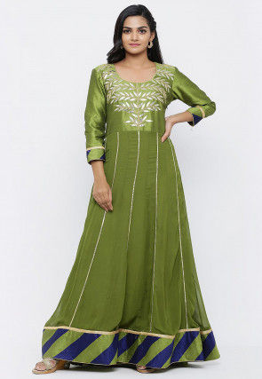 Embroidered Georgette Flared Gown in Olive Green