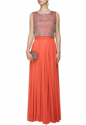 Embroidered Georgette Flared Gown in Orange