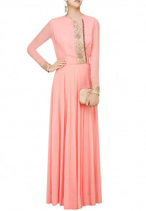 Embroidered Georgette Flared Gown in Peach