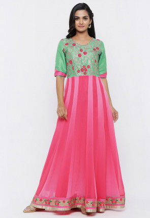 Embroidered Georgette Anarkali Gown in Pink and Light Green