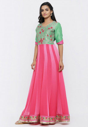 Embroidered Georgette Anarkali Gown Set in Pink and Light Green