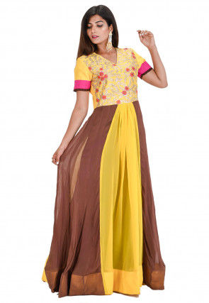 Embroidered Georgette Flared Kurta in Yellow and Brown