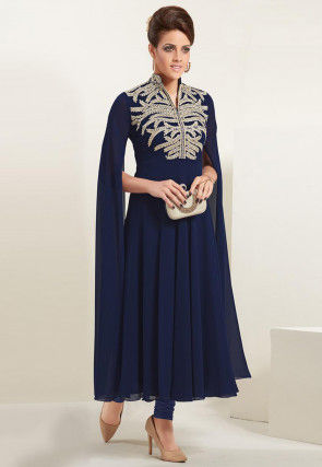 Embroidered Georgette Flared Kurta Set in Navy Blue