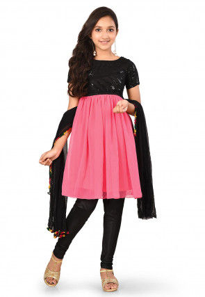 Embroidered Georgette Flared Suit in Pink and Black