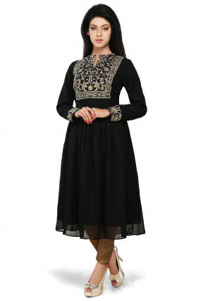 Embroidered Georgette Flared Tunic in Black