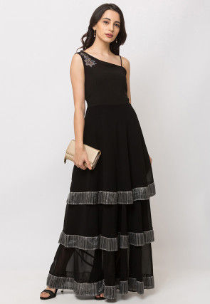 Embroidered Georgette Flounced Gown in Black