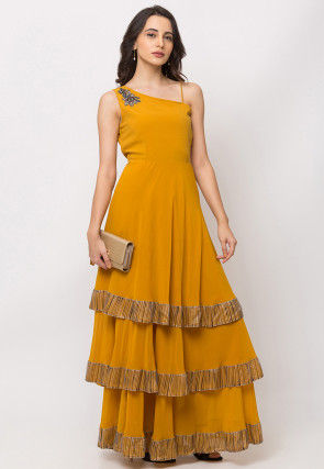 Embroidered Georgette Flounced Gown in Mustard