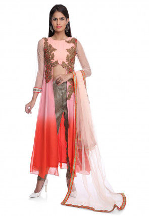 Embroidered Georgette Front Open A Line Suit in Peach Ombre