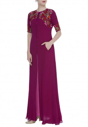 Embroidered Georgette Front Open Long Kurta Set in Magenta
