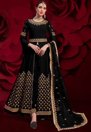 Embroidered Georgette Front Slit Abaya Style Suit in Black
