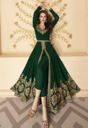 Embroidered Georgette Front Slit Abaya Style Suit in Dark Green
