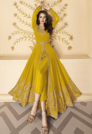 Embroidered Georgette Front Slit Abaya Style Suit in Mustard