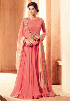 Embroidered Georgette Front Slit Abaya Style Suit in Pink