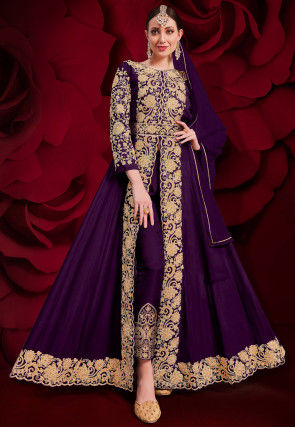 Embroidered Georgette Front Slit Abaya Style Suit in Violet