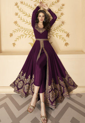 Embroidered Georgette Front Slit Abaya Style Suit in Wine