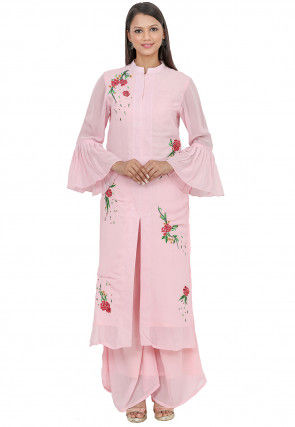 Embroidered Georgette Front Slitted Kurta in Baby Pink