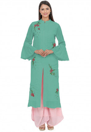 Embroidered Georgette Front Slitted Kurta in Light Teal Green