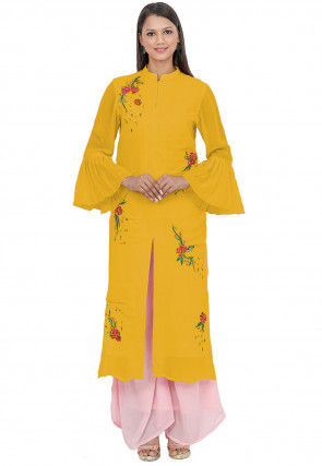 Embroidered Georgette Front Slitted Kurta in Yellow