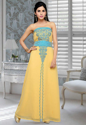 Embroidered Georgette Fustan in Yellow