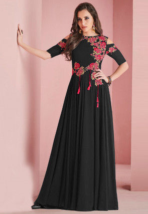 Embroidered Georgette Gown Black