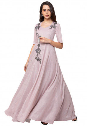 Embroidered Georgette Gown in Baby Pink