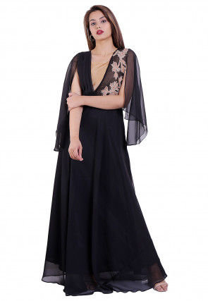 Embroidered Georgette Gown in Black
