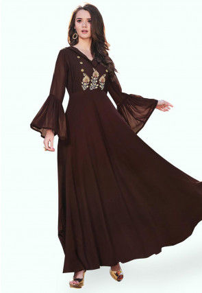 Embroidered Georgette Gown in Brown