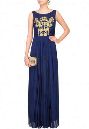 Embroidered Georgette Gown in Dark Blue