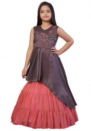 Embroidered Georgette Gown in Dusty Purple and Dark Peach