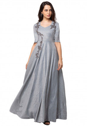 Embroidered Georgette Gown in Grey