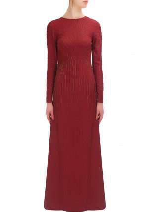 Embroidered Georgette Gown in Maroon