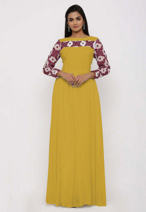 Embroidered Georgette Gown in Mustard