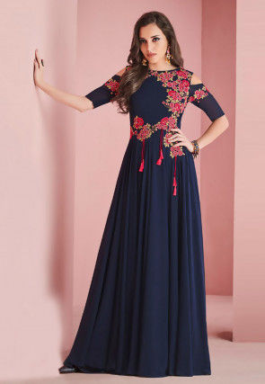 Embroidered Georgette Gown in Navy Blue