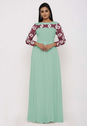 Embroidered Georgette Gown in Pastel Green