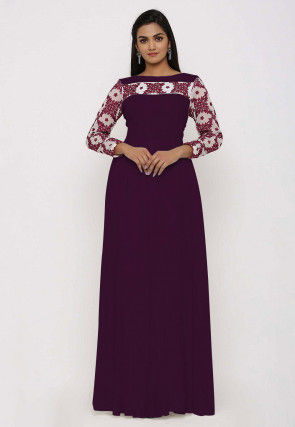 Embroidered Georgette Gown in Purple