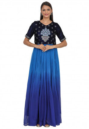 Embroidered Georgette Gown in Shaded Blue