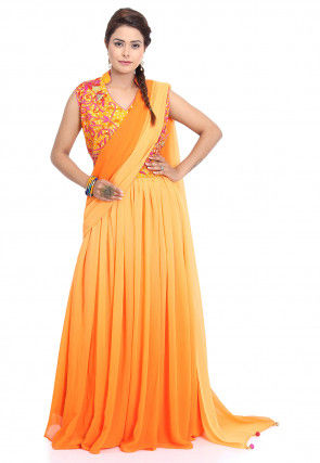 Embroidered Georgette Gown in Shaded Orange and Mustard