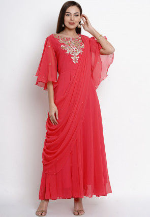 Embroidered Georgette Gown with attachable Dupatta in Red