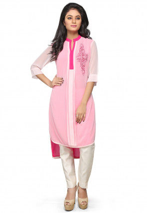 Embroidered Georgette High Low Kurta Set in Baby Pink