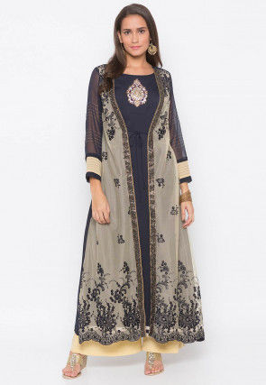 Embroidered Georgette Jacket Style A Line Kurta Set in Navy Blue