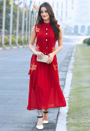 Embroidered Georgette Jacket Style Dress in Red