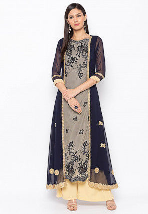 Embroidered Georgette Jacket Style Kurta in Navy Blue and Beige