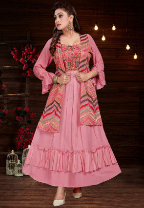Embroidered Georgette Jacket Style Kurta in Pink